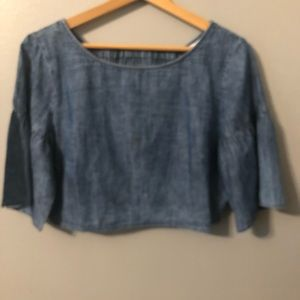 NWT BCBGeneration Chambray Ladder Back Crop Top M